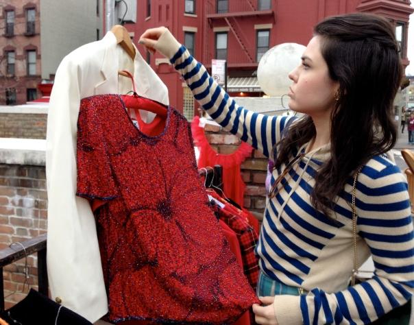 Emma Grady shopping at a flea market in Brooklyn, New York. Photo: Colorant